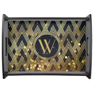 Art Deco Gatsby Glamour Geometric Pattern Monogram Serving Tray