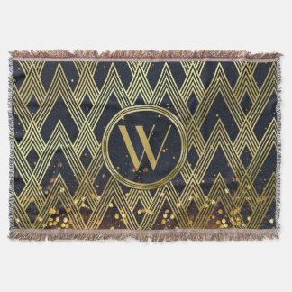 Art Deco Gatsby Glamour Geometric Pattern Monogram Throw Blanket