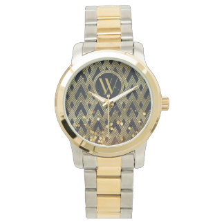 Art Deco Gatsby Glamour Geometric Pattern Monogram Watch