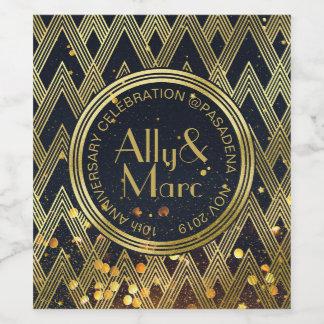 Art Deco Gatsby Glamour Geometric Pattern Monogram Wine Label