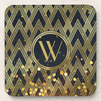 Art Deco Gatsby Glitter Geometric Pattern Monogram Coaster