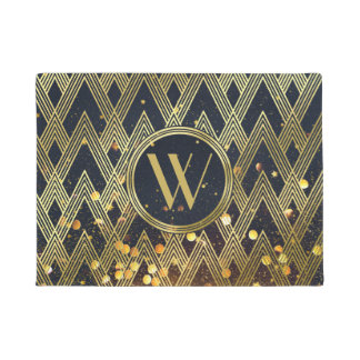 Art Deco Gatsby Glitter Geometric Pattern Monogram Doormat