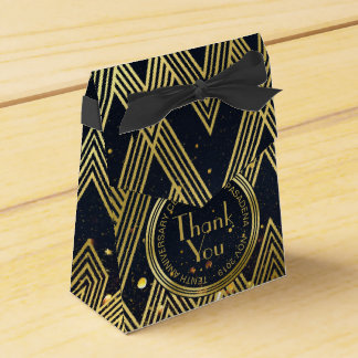 Art Deco Gatsby Glitter Geometric Pattern Monogram Favor Box