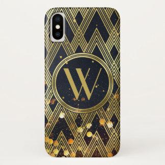 Art Deco Gatsby Glitter Geometric Pattern Monogram iPhone X Case