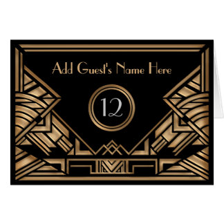 Art Deco Gatsby Golden Beige Wedding Escort Cards
