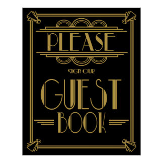"Art Deco Gatsby ""Please sign our guest book"" print"