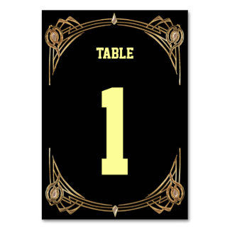 Art Deco Gatsby Stile Table Cards - Table Numbers