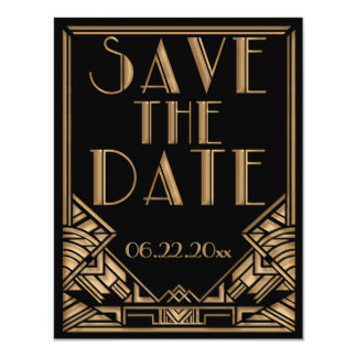 "Art Deco Gatsby Style Wedding Save the Date 4.25"" X 5.5"" Invitation Card"