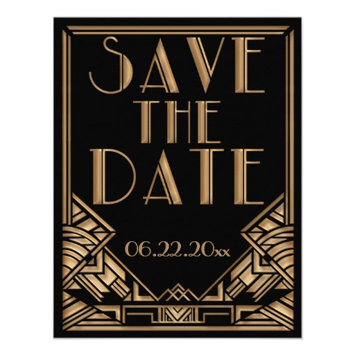 Art Deco Gatsby Style Wedding Save the Date Personalized Invites