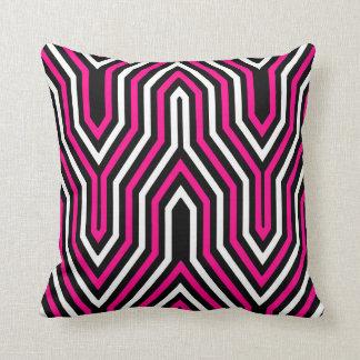 Art Deco Geometric - fuchsia pink, black and white Throw Pillow
