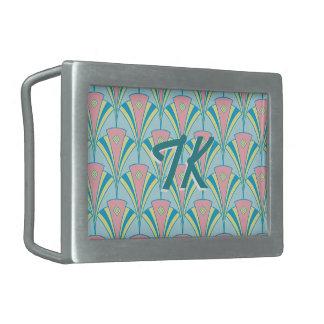 Art Deco Geometric Pastel Fan Design Belt Buckle