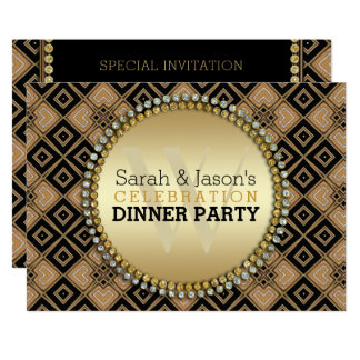 Art Deco Geometric Pattern Black Gold Dinner Party Card
