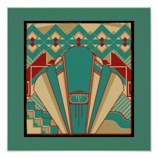 Art Deco Geometric Pattern Poster