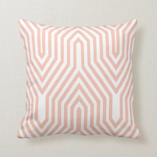 Art Deco Geometric - peach pink and white Throw Pillow
