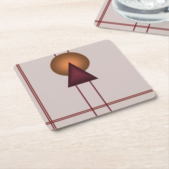 Art Deco Geometric Square Paper Coaster