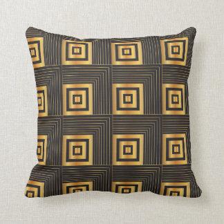 Art Deco Geometric Squares black & gold Throw Pillow
