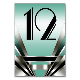 Art Deco Glam Nouveau Table Numbers | teal Table Card