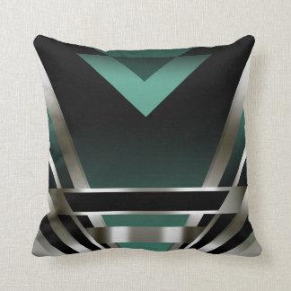 Art Deco Glam Nouveau   teal Throw Pillow