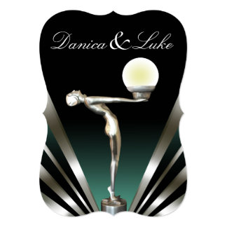 Art Deco Glam Nouveau Wedding   teal Card