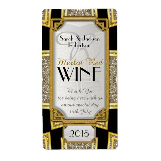 Art Deco Gold 3 Vintage Stylish Wine Bottle Labels
