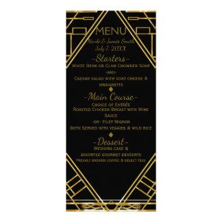 Art Deco Gold & Black Glamour Wedding Menu Card
