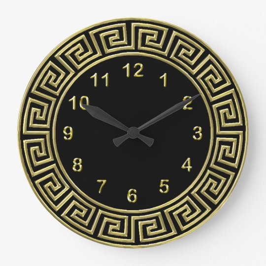 Art Deco Gold Black Greek Key Border Gold Markers Clocks