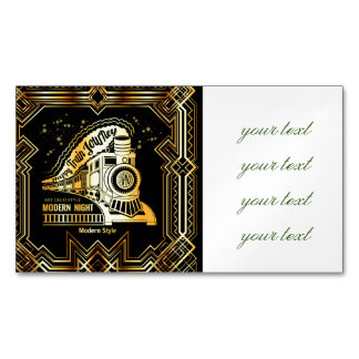 art deco,gold,black,vintage,retro,elegant,chic,tre magnetic business card