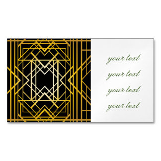 art deco,gold,black,vintage,retro,elegant,chic,tre magnetic business card