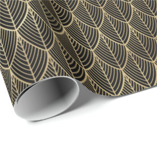 Art Deco Gold Elegant Scales Scallop Pattern Wrapping Paper