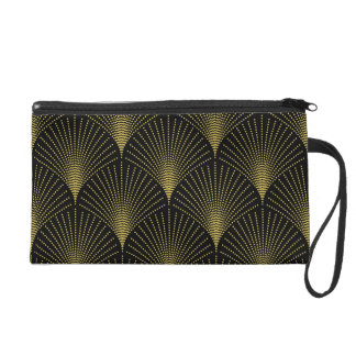 Art-Deco Gold Geometric Pattern Wristlet
