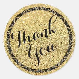 Art Deco Gold Glitter Thank You Stickers