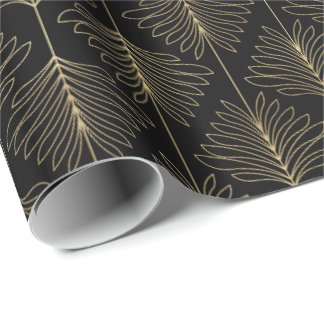Art Deco Gold Palm Fern Fronds Pattern Wrapping Paper