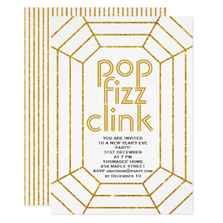 Art Deco gold pop fizz clink New Year's Eve party Card