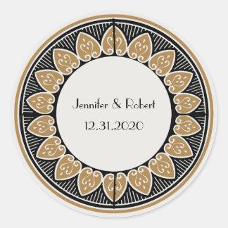 Art Deco Gold Posh Wedding Round Sticker