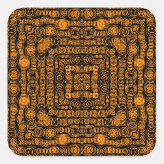 Art Deco Gold Retro Squares Abstract Art Square Sticker