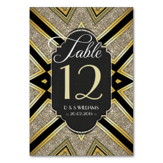 Art Deco Goldy Wedding Table Number Cards Table Card