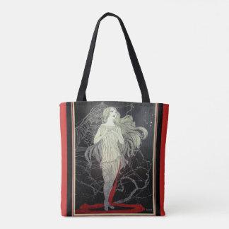 Art Deco Goth Girl & Spider Web Tote