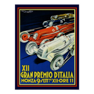 Art Deco Gran Premio D'Italia Poster 12 x 16