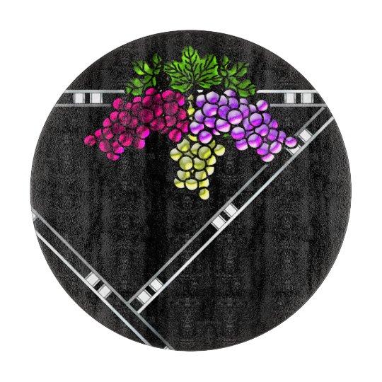 Art Deco Grapes on Black Cutting Board