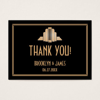 Art Deco Great Gatsby Black Wedding Favor Tags Business Card