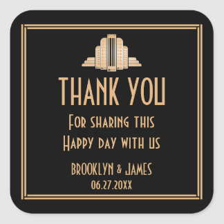 Art Deco Great Gatsby Black Wedding Stickers