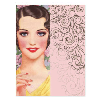 Art deco great gatsby Parisian fashionista Postcard