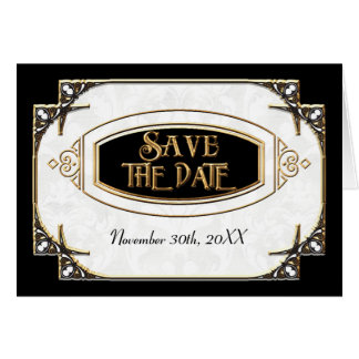 Art Deco Great Gatsby Style Typography n Lace Gold Card