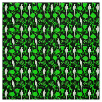 ART DECO GREEN FLOWERS AND WHITE PARROTS ON BLACK FABRIC