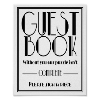 "Art Deco ""Guest Book Puzzle"" Wedding party print"