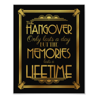 Art deco hangover party sign wedding sign, gold