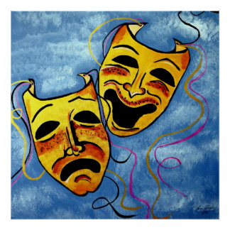 ART DECO   HAPPY AND SAD POSTER