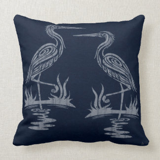 Art Deco Herons - Gray on Navy Blue Throw Pillow