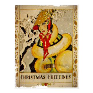 Art Deco Holiday Greeting Postcard