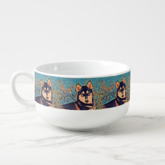 Art Deco Husky Soup Mug
